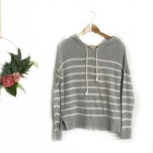 Gray oversized striped Knit Hooded Sweater M